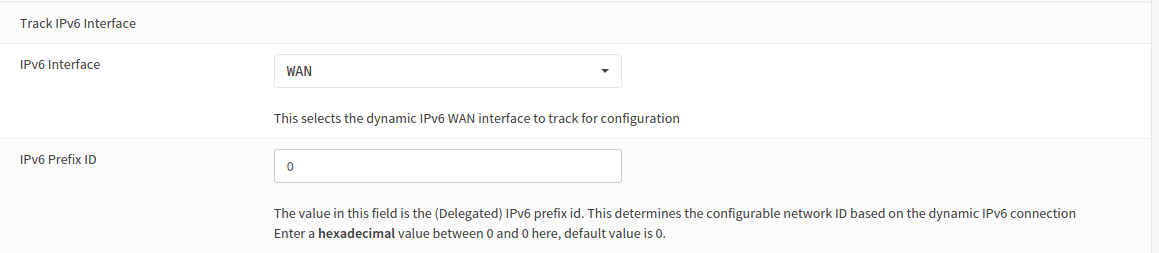 LAN Track interface Settings