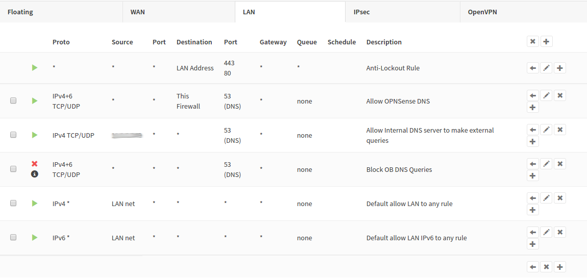OPNSense LAN Firewall rules, reordered